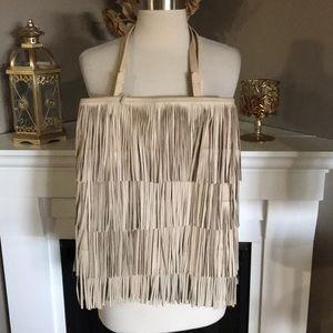 Zara Beige Leather Fringed Shoulder Bag